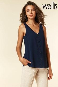 Wallis Blue Button Through Camisole Top