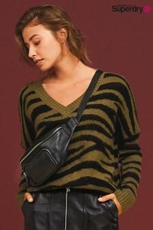 Superdry Khaki Zebra Print Jumper