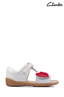 Clarks White Leather Zora Rain T Sandals