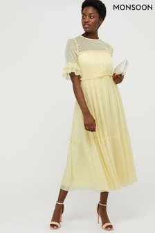 Monsoon Yellow Dafne Tiered Dress