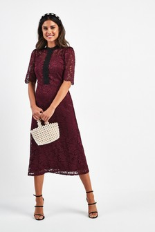 Lace Trim Midi Dress