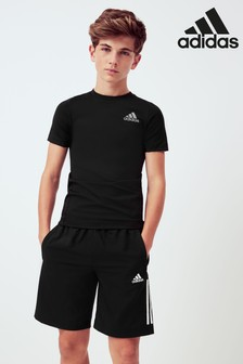 adidas Black 3 Stripe Woven Shorts