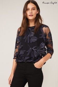 Phase Eight Blue Reine Print Burnout Top