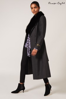 Phase Eight Black Grey Elsie Faux Fur Collar Coat