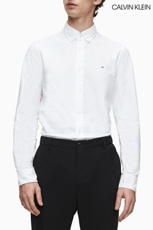 Calvin Klein White Slim Fit Stretch Oxford Shirt