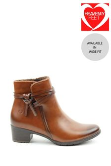 Heavenly Feet Tan Ladies Low Heeled Ankle Boots