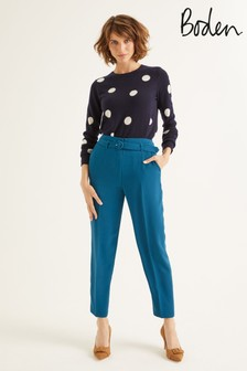 Boden Blue Christina Belted Trousers