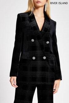 River Island Black Sequin Check Hayley Blazer