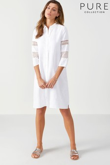 Pure Collection White Linen Ladderwork Trim Tunic