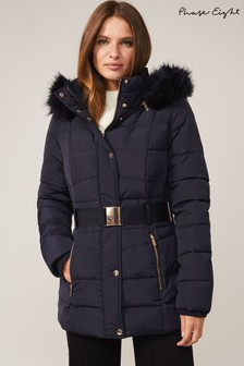 Phase Eight Blue Vicky Velvet Trim Short Padded Coat
