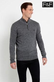 F&F Grey Lambswool Zip Neck Twist Jumper