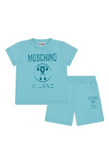 Moschino Kids Baby Boys Blue Cotton Outfit