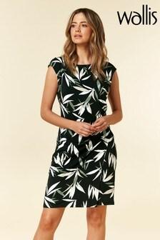 Wallis Black Petite Bamboo Ruche Side Dress