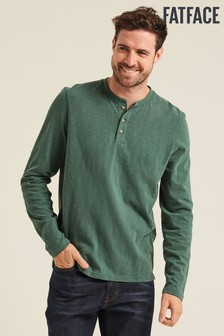 FatFace Green Foxley Slub Henley T-Shirt