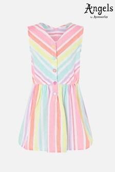 Angels By Accessorize Pink Rainbow Stripe Dress In Linen Blend