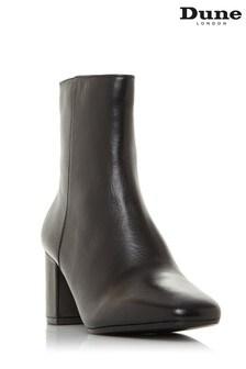 Dune London Oregon T Black Square Toe Mid Heel Ankle Boots