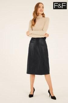 F&F Black PU Midi Skirt