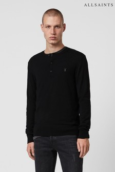 AllSaints Black Mode Merino Button Up Knit Jumper