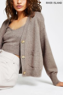 River Island Beige Light Gold Button Cardigan