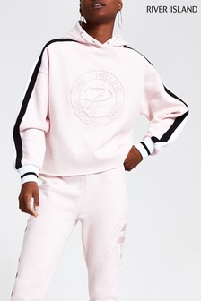 River Island Pink Embroidered Prolific Hoody