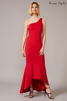 Phase Eight Red Dahlia One Shouldered Scuba Dress