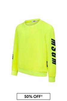 MSGM Boys Yellow Cotton Sweat Top