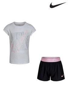 Nike Little Kids Girls Rule T-Shirt And Shorts Set