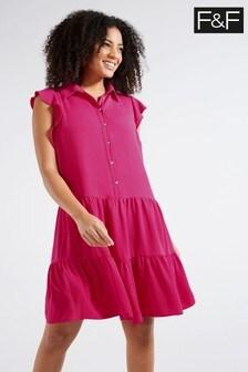 F&F Pink Jewel Button Tier Dress