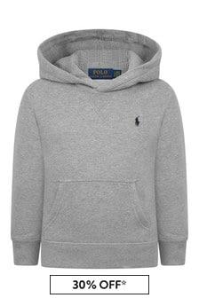 Boys Grey Fleece Hooded Sweater