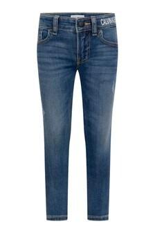 Calvin Klein Jeans Boys Blue Cotton Skinny Logo Jeans