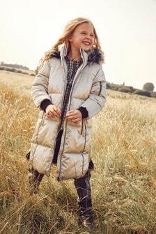 Shower Resistant Metallic Longline Padded Jacket (3-16yrs)