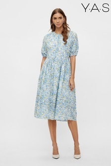 Y.A.S Sustainable Organic Cotton Blue Floral Iris Dress