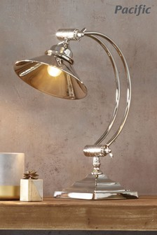 Kensington Nickel Metal Arched Arm Task Table Lamp by Pacific Lifestyle