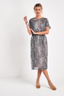 Сетчатое платье миди