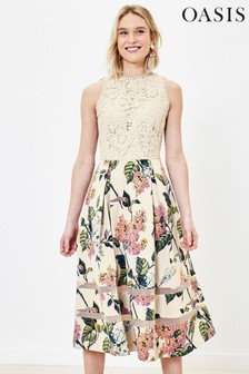 Oasis Natural Lace Blossom Midi Dress