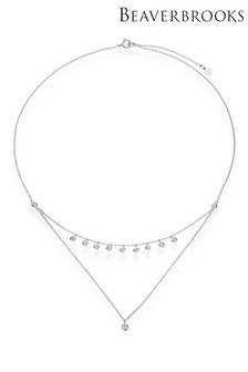 Beaverbrooks Sterling Silver Cubic Zirconia Double Choker Necklace
