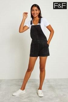 F&F Black Dungaree Short