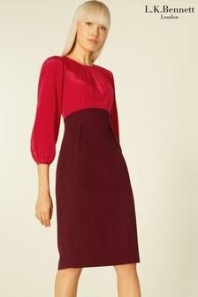 L.K.Bennett Red Suzette Silk & Crepe Mix Dress
