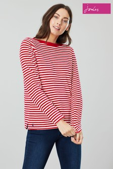 Joules Esme Velour Slash Neck Jersey Top