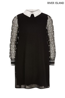 River Island黑色珍珠領連衣裙