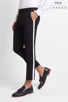Moss London Skinny Fit Side Stripe Cropped Trousers
