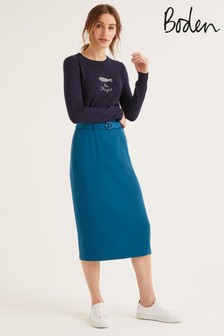 Boden Blue Christina Belted Skirt