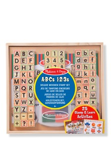 Melissa & Doug Deluxe Wooden Stamp Set ABCs 123s