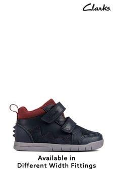 Clarks Navy Leather Rex Park Boots