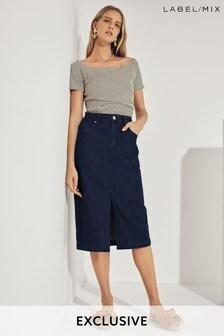 Mix/LF Markey Dark Denim Straight Midi Skirt