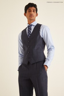 French Connection Blue Slim Fit Check Puppytooth Waistcoat