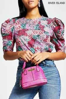 River Island Pink Print Poplin Frill Blouse