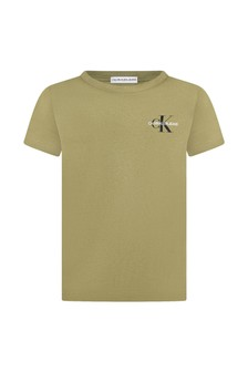 Calvin Klein Jeans Boys Khaki Cotton T-Shirt