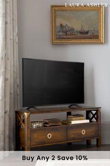 Balmoral Dark Chestnut 2 Drawer Corner Tv Unit by Laura Ashley