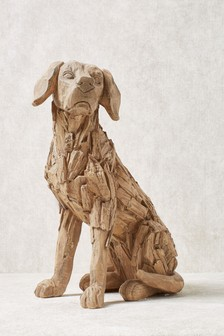 Wood Effect Dog Sculpture